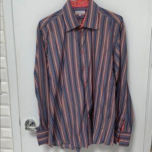 Cotton Doux Orange blue gray white stripe shirt